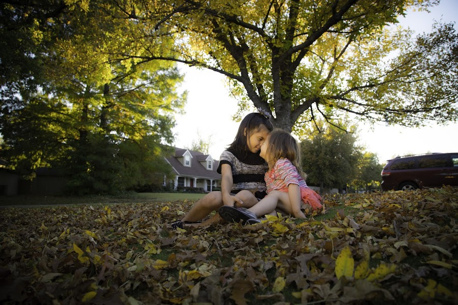 Sisters in the Fall by Richard Castillo - Babies & Children Children Candids