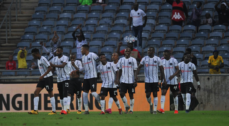 Paseka Mako of Orlando Pirates celebrates goal with teammates during the Absa Premiership match between Orlando Pirates and Highlands Park on 18 January 2020 at Orlando Stadium.