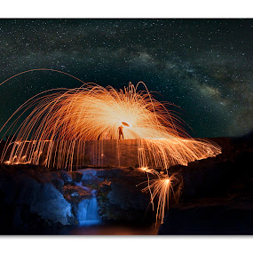 Burning Milkway by Himanshu Jethva - Abstract Light Painting ( sky, astro, stars, mikyway, astrophotography, night, astronomy, fire )