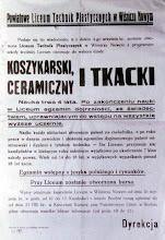 Photo: afisz informujący o pierwszym naborze do szkoły 1947 r.