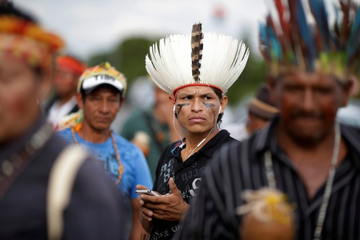Indigenous people of the Guarani-Kaiowa tribe demand the demarcation of their lands in Mato Grosso do Sul state, Brasilia, in 2016.