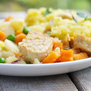 Tempeh Stew with Garlic Mashed Potatoes.
