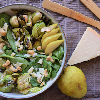 Spinach Pear Salad with Roasted Brussels Sprouts.