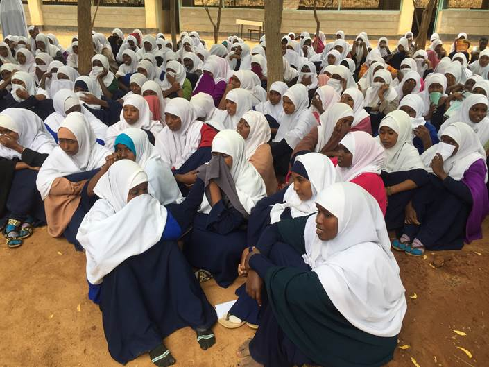 Girls listen to teachings in one of the Dadaab camps