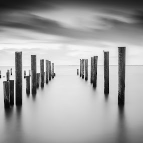 Forgotten Pathway by Joshua Meyer - Landscapes Waterscapes ( pylon, pier, long exposure, pillar, pylons, pillars )