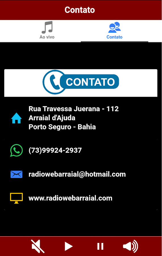 Web Rádio Arraial: captura de tela