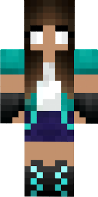 Herobrine Girl Neon Turquoise With Headphones Cool