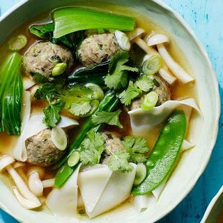 "Wonton Soup With Mushroom-Zucchini ""Meatballs"""