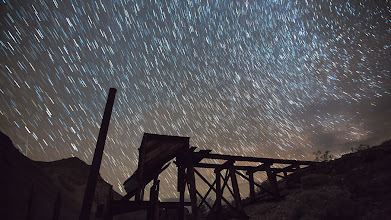 Photo: Geminid meteor shower over a mine in Death Valley
