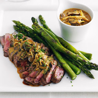 Steak With Mushroom Miso Sauce.