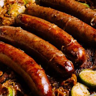 Bison Bratwurst & Brussels Sprouts Sauerkraut