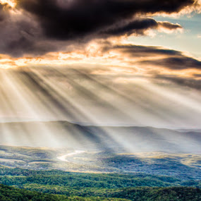 God's Country by Scott Turnmeyer - Landscapes Mountains & Hills ( mountains, god, blue, valley, rays, sun, ridge )