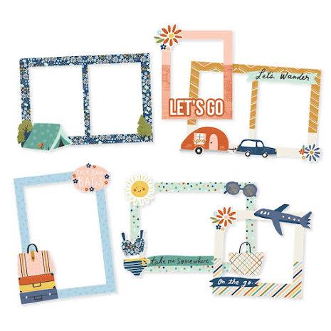 Simple Stories Chipboard Frames 6/Pkg - Safe Travels
