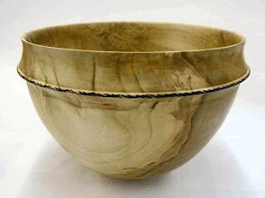 """Photo: Richard Webster - silver-maple bowl with decoration, 9""""x6"""", finished """"darker"""" with walnut oil"""