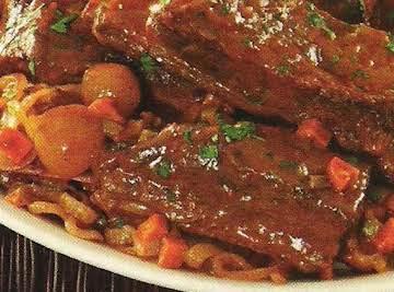 Six hour braised short ribs, pot roast style
