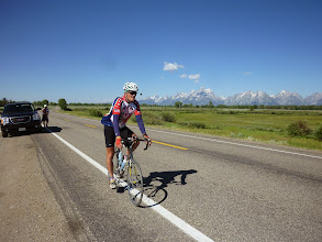 Photo: in backgroundDay 18 Jackson Hole to Dubois WY 88 miles 4450' climbing: Jim with Tetons in background.