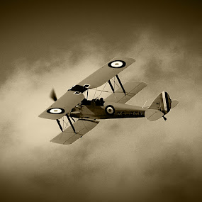 Bi-plane by Johan Niemand - Transportation Airplanes ( flight, radial, old, airplane, prop )