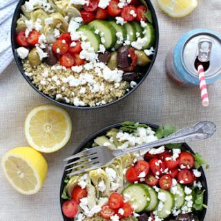 Loaded Greek-Style Quinoa Bowls w/ Chunky Feta & Spicy Tzatziki