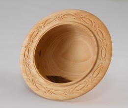 "Photo: Margaret Follas 3"" x 2"" bowl [maple] chip carving - rim detail"