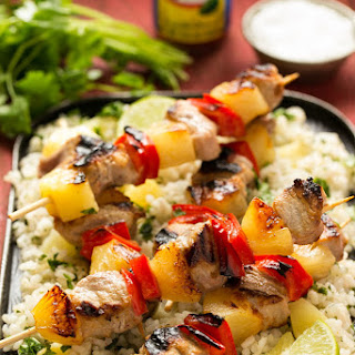 Pineapple Pork Kebabs with Pineapple Cilantro Rice