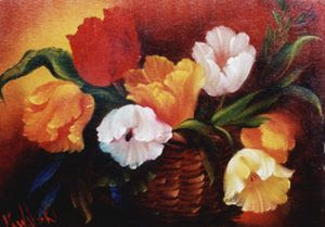 Photo: KP17 Basket of Tulips (for 18 x 24 canvas) $6.99