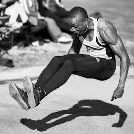 Beamonesque by Arnold Ward - Sports & Fitness Other Sports ( black and white, track & field, sports, long jump, athlete )
