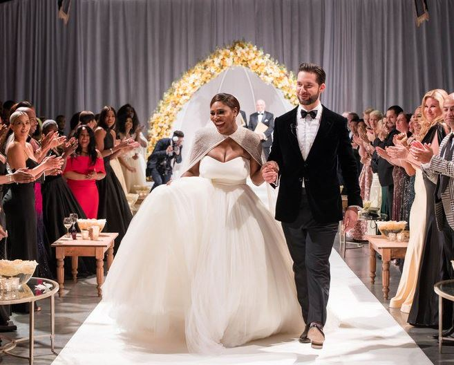 The newly married Serena Williams and Alexis Ohanian after they exchanged their vows.