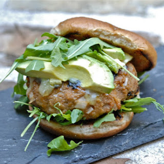 Turkey Burgers with Brie, Avocado + Arugula.