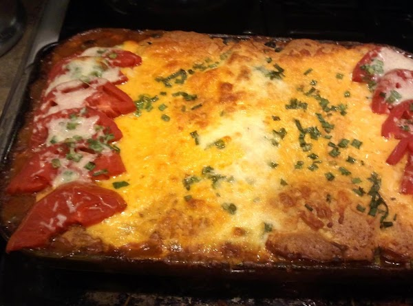 Remove from oven and allow to sit for about 15 minutes before serving. Cut...