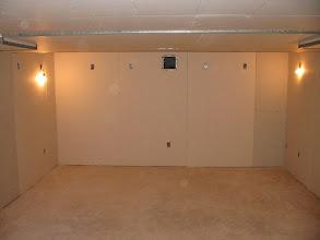 Photo: Rear wall showing 'projector window'.