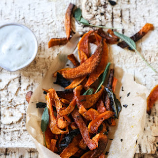 Baked Butternut Squash Fries with Sage and Anchovy Aioli