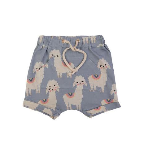 Dear Sophie Blue Llama Shorts