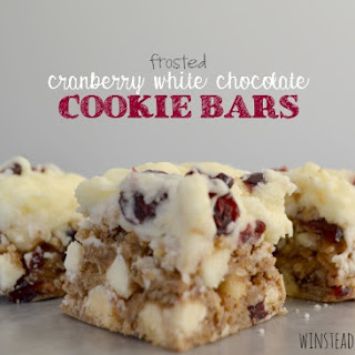 Frosted Cranberry White Chocolate Cookie Bars