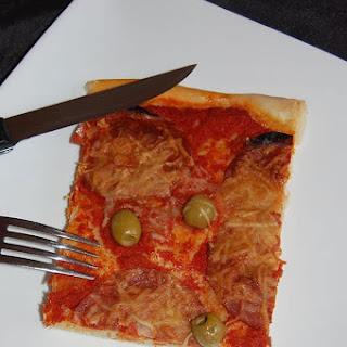 Chorizo and Green Olive Pizza.