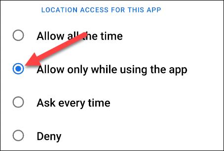 change the location permission