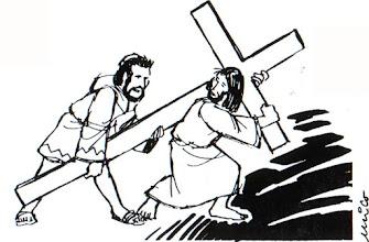 Photo: jesús ayudado levantar cruz