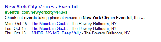 Event Schema results in search engine