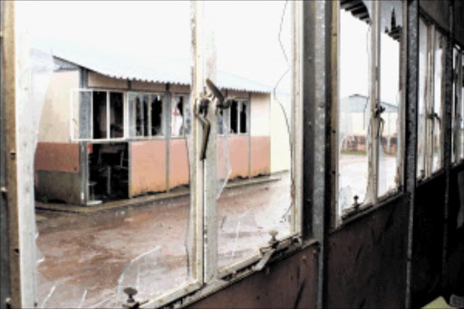 CHAOS: Some of the extensive damage done to Duduzani Primary School, where parents allegedly vandalised the buildings and locked the gates, stopping teaching from taking place.Pic: Thuli Dlamini. 17/02/2010. © Sowetan.