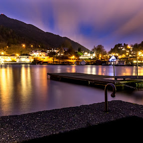 Evening lights... by Paulius Bruzdeilynas - Landscapes Waterscapes ( bergen, water, lights, clouds, mountain, sky, night, fjord,  )