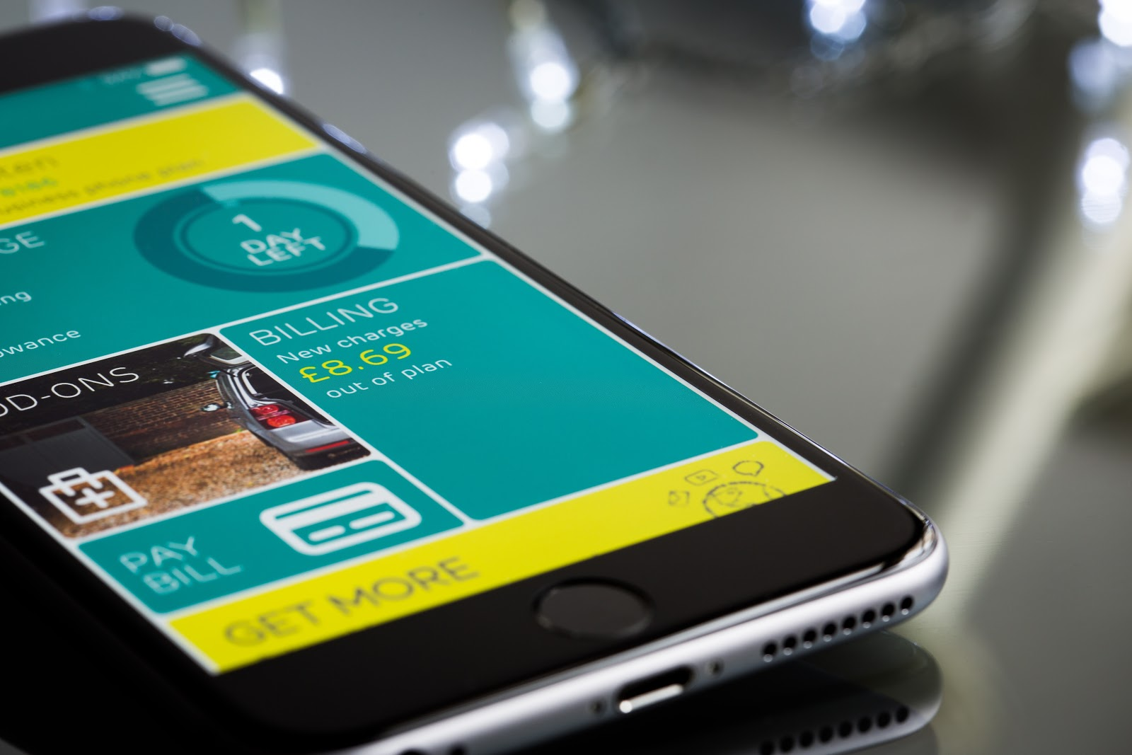 An app displayed on an iPhone