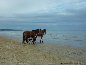 Photo: Sur la plage de Deauville avant l'arrivée des touristes