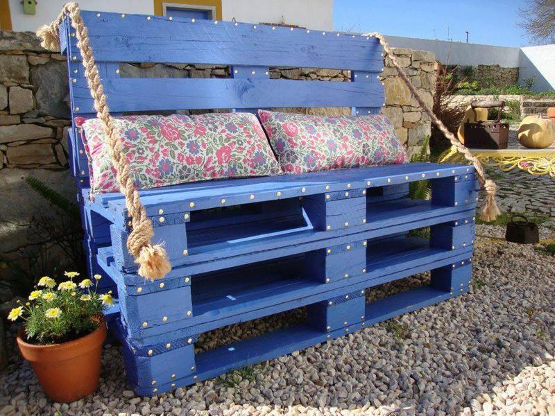 Скамейка для сада, декор сада, синий цвет