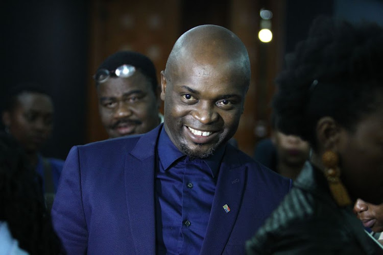 Tshwane Mayor Solly Msimanga smiles after surviving two votes of no confidence against him on August 30, 2018 in Pretoria.