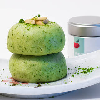 Matcha Mochi Cake with Red Beans.