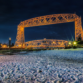 The Night Behind by Glen Sande - Buildings & Architecture Bridges & Suspended Structures ( mn, duluth, aerial lift bridge, bridge, glen sande, nightscape,  )