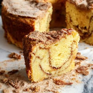 Sour Cream Coffee Cake with Cinnamon Ripple.