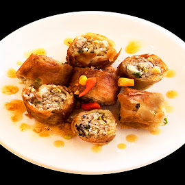 Spicy Thai Spring Rolls by James Morris - Food & Drink Plated Food ( thai cooking, street food, spicy thai spring rolls, spring rolls, thai, crispy rolls, food )