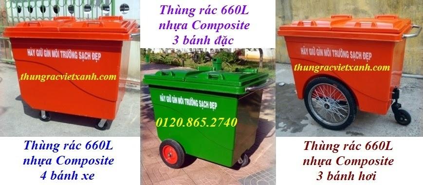 Thùng rác 660L nhựa composite