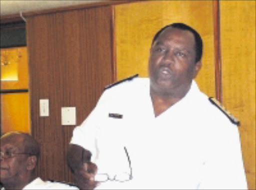 VIGILANT: South African Navy chief Refiloe Mudimu addressing the media in Tshwane. 03/12/08. © Unknown.