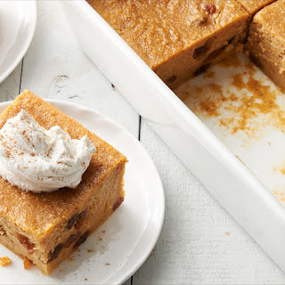 Pumpkin Bread Pudding with Ginger Cream.